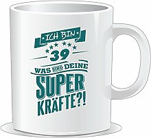 getshirts - RAHMENLOS® Geschenke - Tasse - Superkraefte zum 39. Geburtstag - petrol - uni uni