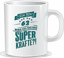 getshirts - RAHMENLOS® Geschenke - Tasse - Superkraefte zum 62. Geburtstag - petrol - uni uni