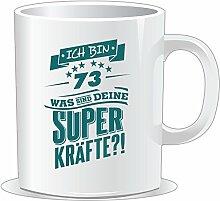 getshirts - RAHMENLOS® Geschenke - Tasse - Superkraefte zum 73. Geburtstag - petrol - uni uni