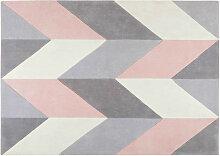 Getufteter Teppich mit grauen und rosa grafischen