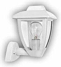 GEV Außenwandleuchte Lena, Klassische Außenleuchte, Retrodesign, Fassung für E27 Leuchtmittel, bis 60 W, IP 44, Aluminium, Weiß, 17,5 x 17 x 24 cm