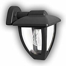 GEV Außenwandleuchte Luna, Klassische Außenleuchte, Retrodesign, Fassung für E27 Leuchtmittel, bis 60 W, IP 44, Aluminium, Anthrazit, 17,5 x 17 x 24 cm