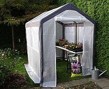 Gewächshaus Alu Treibhaus Gartenhaus Pflanzenhaus | SORARA | 2 x 2,50 m | 40 kg | Fensters, Moskitonetz, Türen | Weiß / Transparent PE
