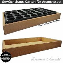 Gewächshaus Style-Box Beige GK5331H für GREEN24 Bewässerungswanne + Topfplatte - Buche Massivholz gewachs