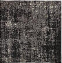 Gewebter Jacquard-Teppich in Schwarz 200x200