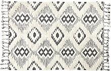 Gewebter Jacquard-Teppich in Schwarz und Weiß mit