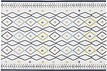 Gewebter Outdoor-Teppich, ecrufarben mit bunten
