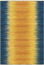 Gewebter Teppich in Blau und Gelb modern