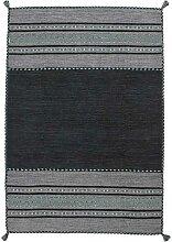 Gewebter Teppich in Grau Ethno Muster