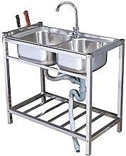 Gewerbeküchenspüle, Doppelwaschbecken aus