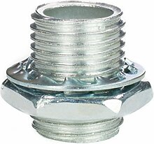 Gewinderohr M10x1, Länge 13mm, verzinkt - inkl. Sechskantmutter u. Sicherungsscheibe   Gewinderöhrchen für Lampe - 20 Stück
