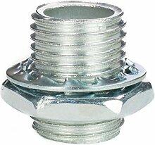 Gewinderohr M10x1, Länge 15mm, verzinkt - inkl. Sechskantmutter u. Sicherungsscheibe   Gewinderöhrchen für Lampe - 10 Stück