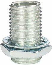 Gewinderohr M10x1, Länge 17 mm, verzinkt - inkl. Sechskantmutter u. Sicherungsscheibe   Gewinderöhrchen für Lampe - 10 Stück