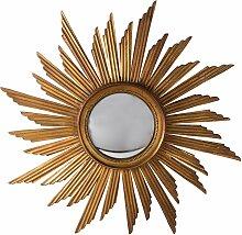 Gewölbter Spiegel mit Holzrahmen in Sonnen-Optik,