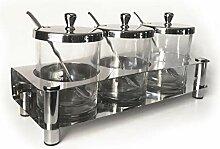 Gewürzgläser aus Glas, mit Chrom-Finish, Deckel
