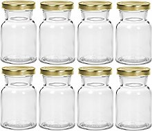 Gewürzgläser Set mit Drehverschluss | 12 teilig | Füllmenge 150 ml | Deckelfarbe Silber Rund Hochwertiges Glas | Glasdose Glasgefäß für Salz Pfeffer Sonnenblumenkerne kürbiskerne Kandis Bonbons