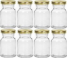 Gewürzgläser Set mit Drehverschluss | 24 teilig | Füllmenge 150 ml | Deckelfarbe Silber Rund Hochwertiges Glas | Glasdose Glasgefäß für Salz Pfeffer Sonnenblumenkerne kürbiskerne Kandis Bonbons