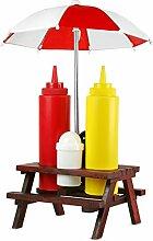 Gewürzhalter Gewürzregal Salz Pfeffer Streuer Ketchup Flasche Picknicktisch