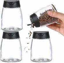 Gewürzstreuer aus Glas, mit Doppeldeckel, für