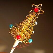 GEXING Weihnachtskuchendekoration Plugin Goldweihnachtsbaum Cupcake Dekoration Einsatzzeichen Eine Packung Mit 5,A-onesize