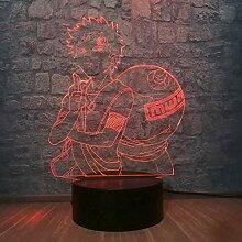 GEZHF 3D Illusionslampe LED Nachtlicht Anime Coole