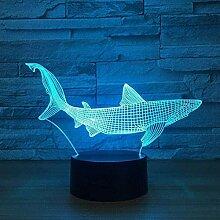 GEZHF 3D Illusionslampe LED Nachtlicht Hai Fisch