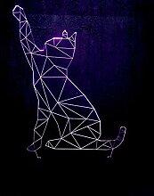 GEZHF 3D Illusionslampe Led Nachtlicht Lazy Cat