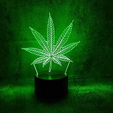 GEZHF 3D Illusionslampe LED Nachtlicht Marihuana