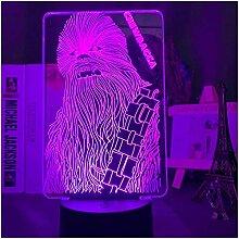 GEZHF 3D Lampe Star Wars Chewbacca Nachtlicht für