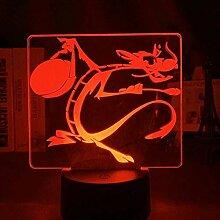 GEZHF 3D Nachtlampe Cartoon Mulan Mushu Dragon