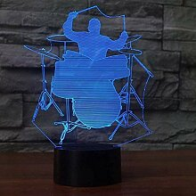 GEZHF 3D Nachtlicht Jazz Drummer Man Styling