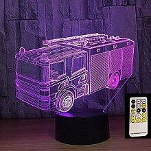 GEZHF Feuerwehrauto 3D Illusion Lampe Licht neben