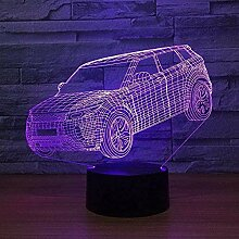GEZHF Große SUV Auto 3D Lampe 7 Farbe LED
