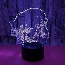 GEZHF Niedliche Eisbär 3D Illusion Lampe Licht