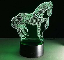 GEZHF Tier Pferd 3D Illusion Lampe Licht neben