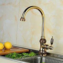 GFEI europäischen stil mit wasserhahn / retro - kupfer, warmen und kalten küchenarmatur / golden revolvierenden universal wassertank schwanz