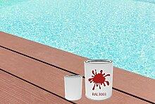 GFK Schwimmbecken Farbe RAL-Farben Glänzend Poolfarbe | BEKATEQ LS-405 Schwimmbadfarbe Polyesterbecken Farbe | Abriebfest, Wasser- und Chemikalienbeständig, Hochdeckend, Schnelle Trocknung | Polyester Farbe Teichfarbe Fischbecken Farbe GFK Teichbecken (10KG, RAL3000 Feuerrot)