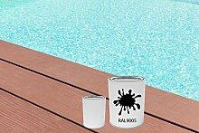GFK Schwimmbecken Farbe RAL-Farben Glänzend Poolfarbe | BEKATEQ LS-405 Schwimmbadfarbe Polyesterbecken Farbe | Abriebfest, Wasser- und Chemikalienbeständig, Hochdeckend, Schnelle Trocknung | Polyester Farbe Teichfarbe Fischbecken Farbe GFK Teichbecken (2,5KG, RAL9005 Schwarz)
