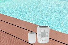 GFK Schwimmbecken Farbe RAL-Farben Glänzend Poolfarbe | BEKATEQ LS-405 Schwimmbadfarbe Polyesterbecken Farbe | Abriebfest, Wasser- und Chemikalienbeständig, Hochdeckend, Schnelle Trocknung | Polyester Farbe Teichfarbe Fischbecken Farbe GFK Teichbecken (2,5KG, RAL7001 Silbergrau)