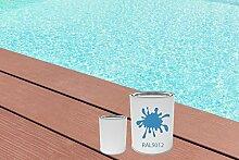 GFK Schwimmbecken Farbe RAL-Farben Glänzend Poolfarbe | BEKATEQ LS-405 Schwimmbadfarbe Polyesterbecken Farbe | Abriebfest, Wasser- und Chemikalienbeständig, Hochdeckend, Schnelle Trocknung | Polyester Farbe Teichfarbe Fischbecken Farbe GFK Teichbecken (5KG, RAL5012 Lichtblau)