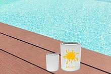 GFK Schwimmbecken Farbe RAL-Farben Glänzend Poolfarbe | BEKATEQ LS-405 Schwimmbadfarbe Polyesterbecken Farbe | Abriebfest, Wasser- und Chemikalienbeständig, Hochdeckend, Schnelle Trocknung | Polyester Farbe Teichfarbe Fischbecken Farbe GFK Teichbecken (2,5KG, RAL1021 Rapsgelb)