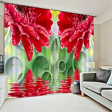 GFYWZ 3D Art Personality Gardinen Polyester Pflanze Blume Dreidimensionale Digitaldruck Stoffe gedämpfter Geräuschreduzieremassivthermoplatten für Schlafzimmer Home Decor Fenster drapiert , 3 , wide 2.03x high 2.13