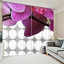 GFYWZ 3D Art Personality Gardinen Polyester Pflanze Blume Dreidimensionale Digitaldruck Stoffe gedämpfter Geräuschreduzieremassivthermoplatten für Schlafzimmer Home Decor Fenster drapiert , 4 , wide 150x high 166 (wide 75x2)