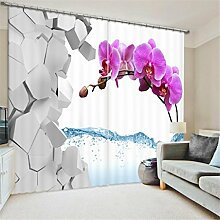 GFYWZ 3D Art Personality Gardinen Polyester Pflanze Blume Dreidimensionale Digitaldruck Stoffe gedämpfter Geräuschreduzieremassivthermoplatten für Schlafzimmer Home Decor Fenster drapiert , 2 , wide 3.0x high 2.7