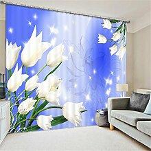 GFYWZ 3D Art Personality Gardinen Polyester Pflanze Blume Dreidimensionale Digitaldruck Stoffe gedämpfter Geräuschreduzieremassivthermoplatten für Schlafzimmer Home Decor Fenster drapiert , 1 , wide 3.0x high 2.7