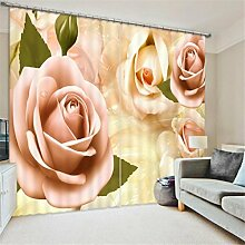 GFYWZ 3D Gardinen Polyester Persönlichkeit Dreidimensionale Rosen Digitaldruck Fenster drapiert Blackout Lärmminderungs Home Decor Schiebegardine , 2 , wide 150x high 166 (wide 75x2)