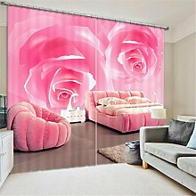 GFYWZ 3D Gardinen Polyester Persönlichkeit Dreidimensionale Rosen Digitaldruck Fenster drapiert Blackout Lärmminderungs Home Decor Schiebegardine , 1 , wide 3.0x high 2.7