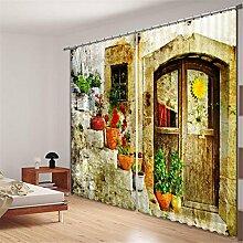 GFYWZ 3D Steinmauer Vintage alte Tür Digitaldruck Blackout Rauschunterdrückung Vorhänge Home Decoration Solid Thermal Window Drapes Room Panel Vorhang , 1 , wide 2.03x high 2.41