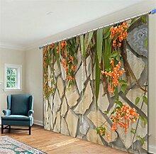 GFYWZ 3D Steinmauer Vintage alte Tür Digitaldruck Blackout Rauschunterdrückung Vorhänge Home Decoration Solid Thermal Window Drapes Room Panel Vorhang , 2 , wide 3.0x high 2.7