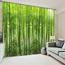 GFYWZ 3D Vorhänge Polyester Grün Ansicht Personality Drucken Stoff Blackout Lärm reduziere Warm Schutz Home Decor Fenster Vorhänge Schlafzimmer Schiebegardine , 3 , wide 3.6x high 2.7